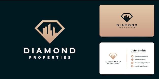 Conception de logo et carte de visite de construction de propriétés de diamant