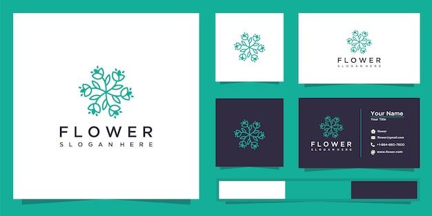 Conception de logo et carte de visite de contour de fleur rose