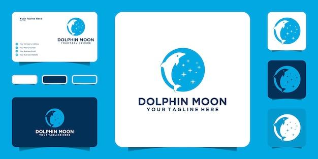 Conception de logo et carte de visite de dauphin sautant de lune