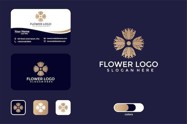Conception de logo et carte de visite élégante fleur rose