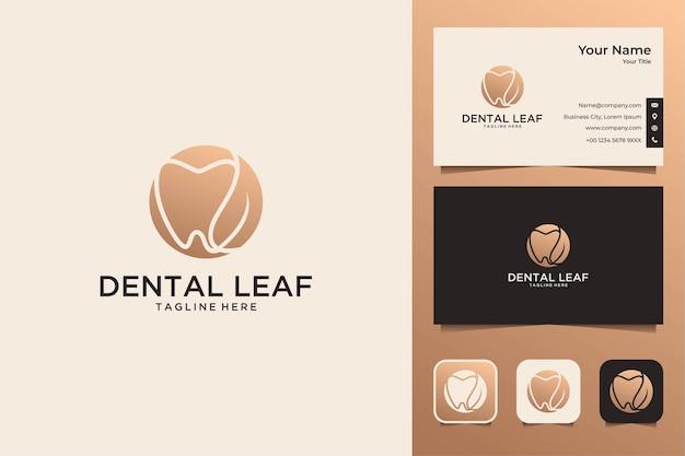 Conception de logo et carte de visite élégants de feuille dentaire