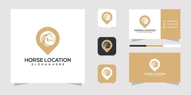 Conception de logo et carte de visite de l'emplacement du cheval