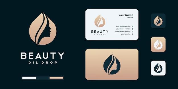 Conception de logo et carte de visite de femmes de beauté, bon usage pour les modèles de conception de logo de mode, de salon, de spa
