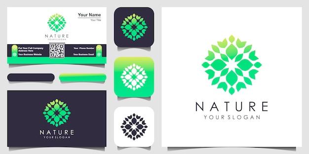 Conception de logo et de carte de visite floral abstrait rose. logo pour la beauté, les cosmétiques, le yoga et le spa. conception de logo et carte de visite