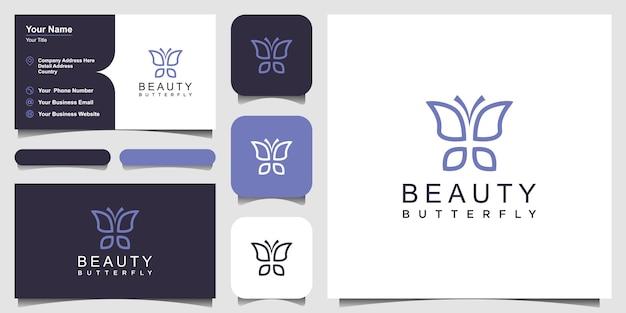 Conception de logo et de carte de visite en forme de monogramme de ligne de papillon minimaliste
