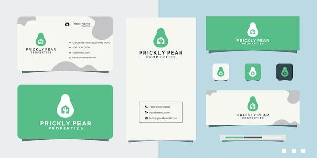 Conception de logo et carte de visite de fruit de cactus d'apple