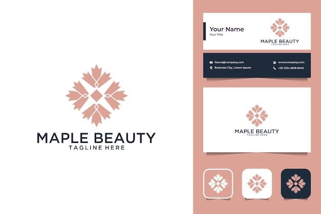 Conception de logo et carte de visite de géométrie de beauté d'érable