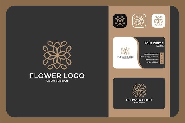Conception de logo et carte de visite de géométrie de fleur de beauté