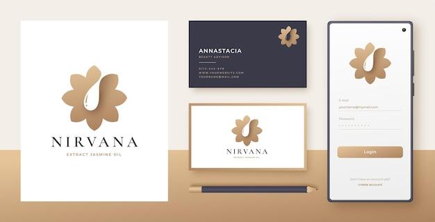 Conception de logo et carte de visite de goutte d'eau de fleur