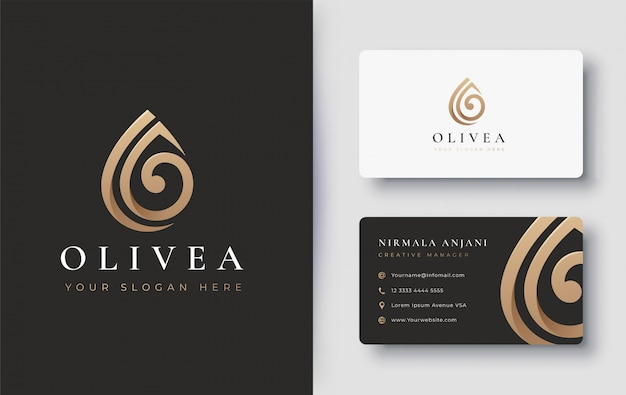 Conception de logo et de carte de visite goutte d'eau / huile d'olive