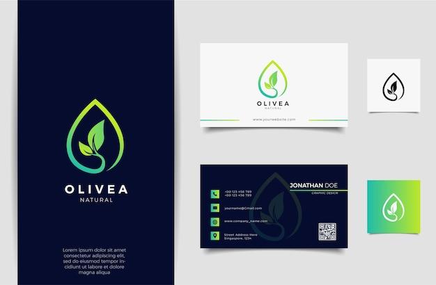 Conception de logo et carte de visite goutte d'eau / huile d'olive