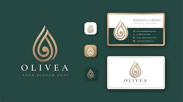 Conception de logo et de carte de visite de goutte d'eau de luxe