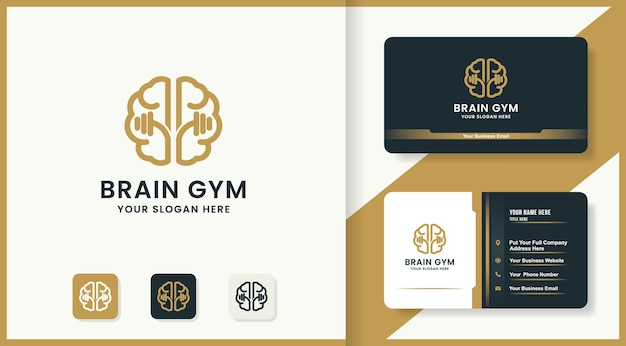 Conception de logo et carte de visite de gym de santé de cerveau