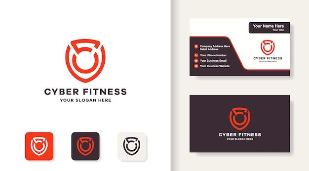Conception de logo et carte de visite d'haltères de bouclier