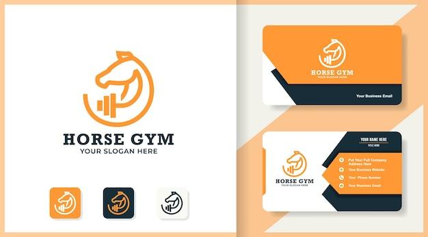 Conception de logo et carte de visite d'haltères de cheval
