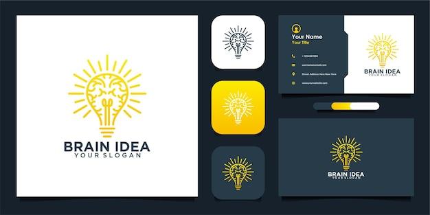 Conception de logo et carte de visite d'idée de cerveau