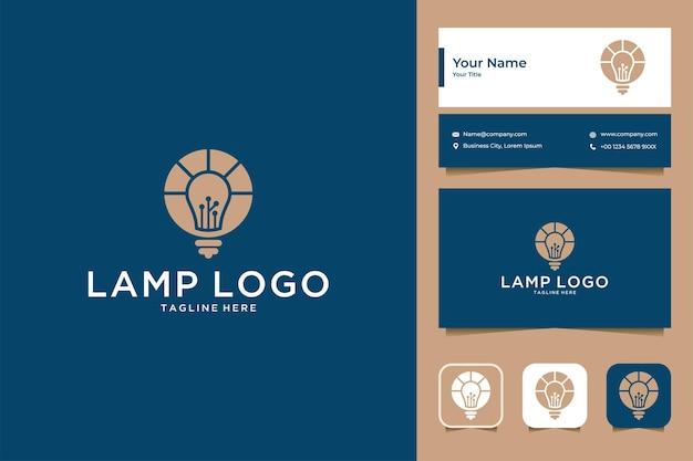 Conception de logo et carte de visite d'idée de logo de lampe