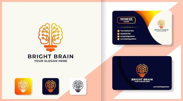 Conception de logo et de carte de visite d'inspiration d'ampoule de cerveau