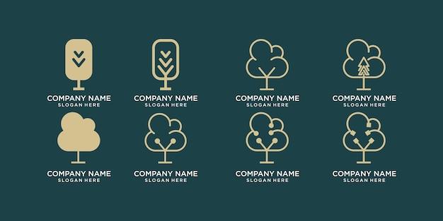 Conception de logo et carte de visite de jeu de tiges et de feuilles