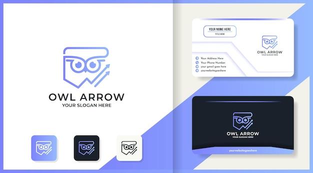 Conception de logo et carte de visite de ligne de flèche de hibou