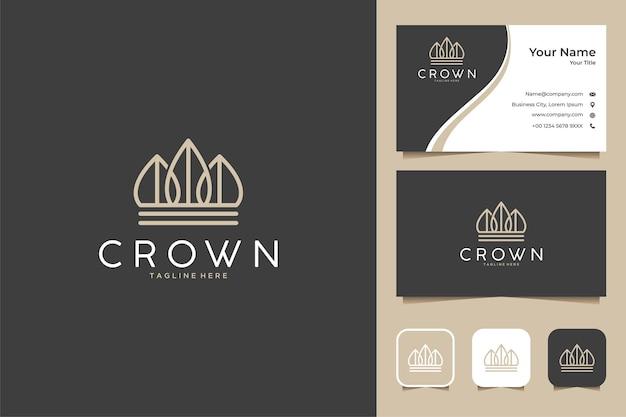 Conception de logo et carte de visite de la ligne de la nature de la couronne
