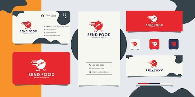 Conception de logo et carte de visite de livraison de nourriture de service rapide