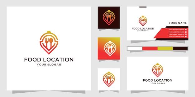 Conception de logo et carte de visite de localisation de nourriture