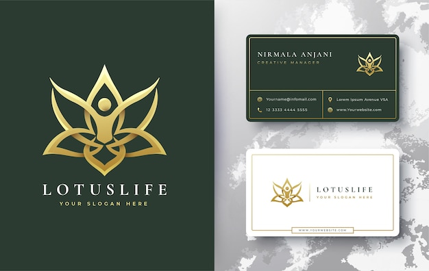 Conception de logo et carte de visite lotus doré