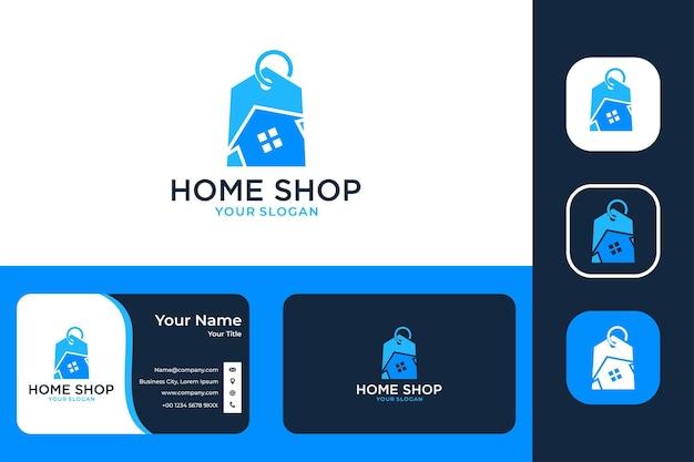 Conception de logo et carte de visite de magasin à la maison moderne