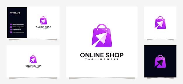 Conception de logo et carte de visite de magasinage coloré impressionnant