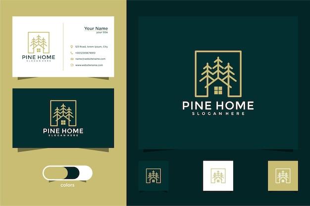 Conception de logo et carte de visite de maison d'arbre de pin