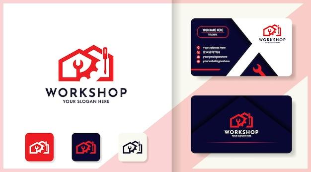 Conception de logo et carte de visite de maison d'engrenage de clé