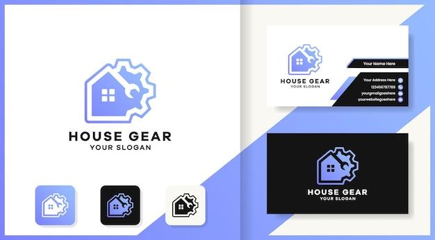 Conception de logo et carte de visite de maison d'engrenage d'outil
