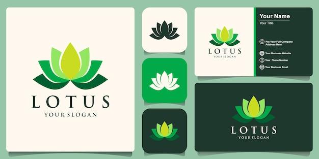 Conception de logo et carte de visite de modèle de logo de paix de yoga de fleur de lotus