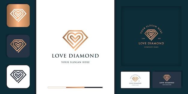 Conception de logo et de carte de visite moderne vintage amour diamant de luxe