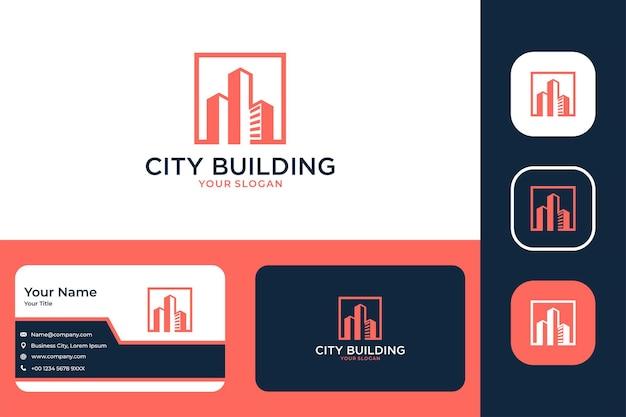 Conception de logo et carte de visite modernes de bâtiment de ville