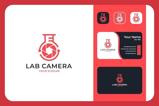 Conception de logo et carte de visite modernes de caméra de laboratoire
