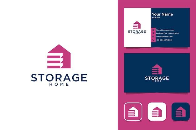 Conception de logo et carte de visite modernes de maison de stockage