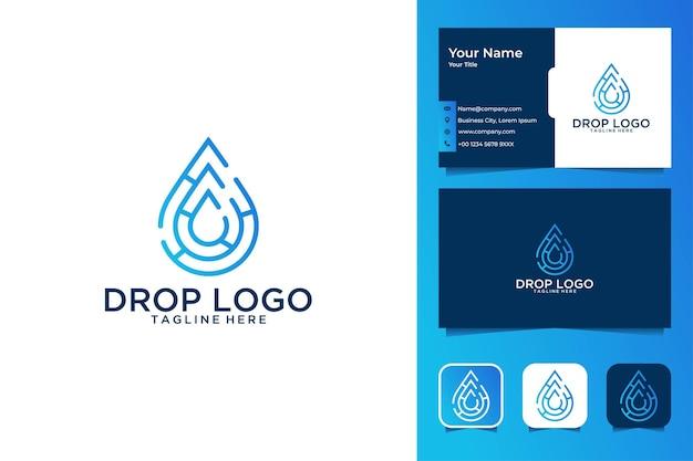 Conception de logo et carte de visite modernes de technologie de baisse