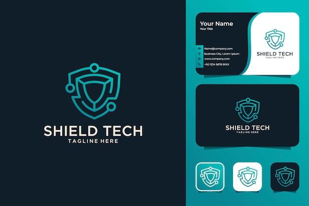 Conception de logo et carte de visite modernes de technologie de bouclier