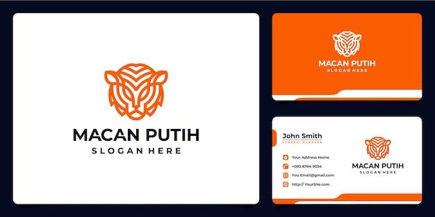 Conception de logo et carte de visite de monoline de tigre