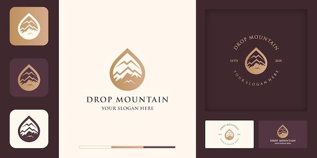 Conception de logo et de carte de visite de montagne de gouttelettes