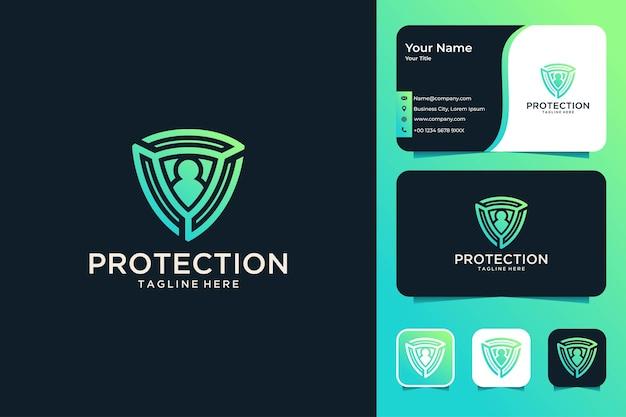 Conception de logo et carte de visite de personnes de protection de bouclier