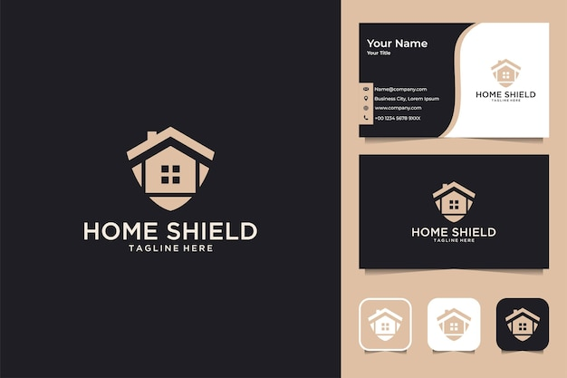 Conception de logo et carte de visite de protection de bouclier à la maison