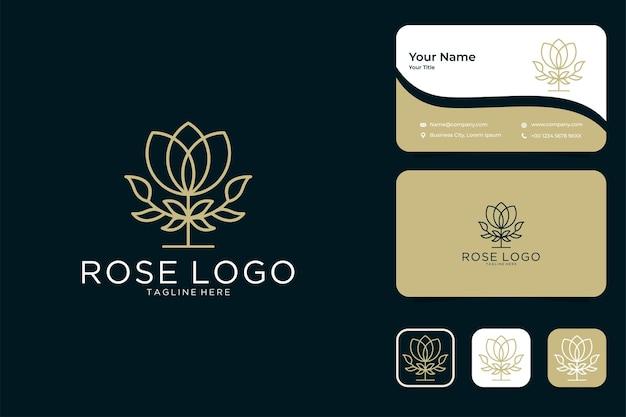 Conception de logo et carte de visite de style art ligne fleur rose