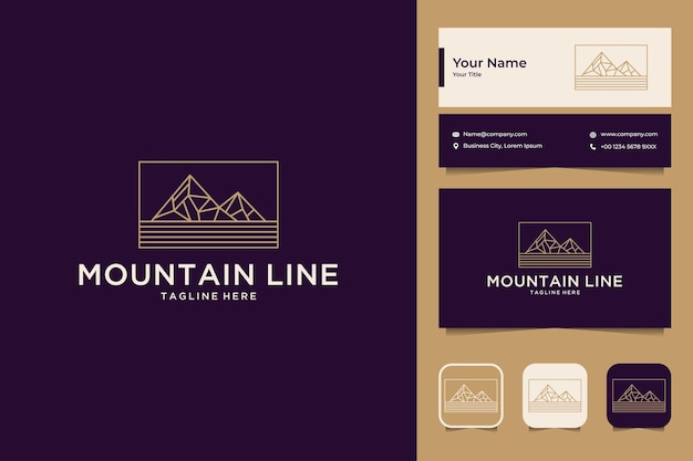 Conception de logo et carte de visite de style art de ligne de montagne