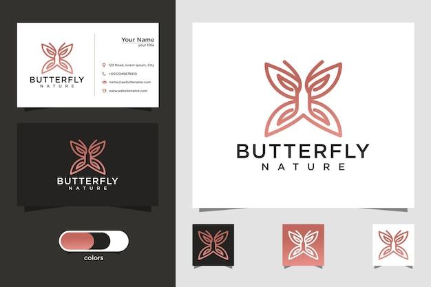 Conception de logo et de carte de visite de style art ligne papillon minimaliste