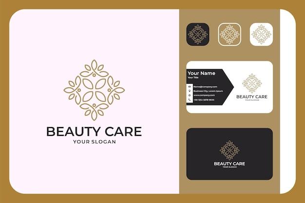 Conception de logo et carte de visite de style art de ligne de soins de beauté