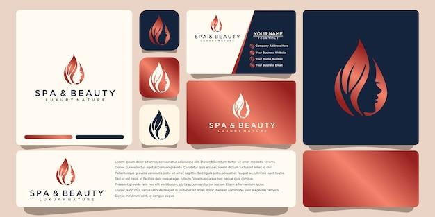 Conception de logo et carte de visite de style visage de belle femme. concept abstrait pour salon de beauté, massage, magazine, cosmétique et spa.