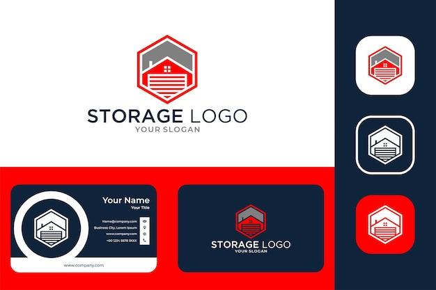 Conception de logo et carte de visite de triangle de stockage de maison